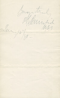Autographs: MAJOR GENERAL AMBROSE E. BURNSIDE - AUTOGRAPH SENTIMENT SIGNED 01/16/1880