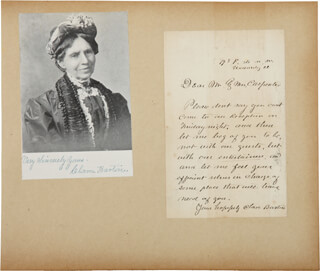 Autographs: CLARA BARTON - AUTOGRAPH LETTER SIGNED CO-SIGNED BY: MAJOR GENERAL BENJAMIN F. BUTLER