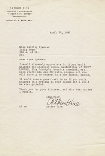 ARTHUR PINE - TYPED LETTER SIGNED 04/22/1943