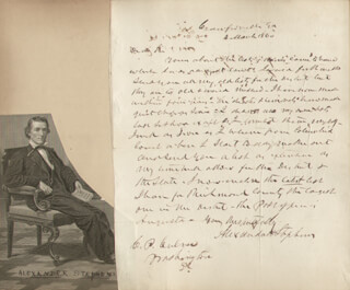 VICE PRESIDENT ALEXANDER H. STEPHENS - AUTOGRAPH LETTER SIGNED 03/04/1860 CO-SIGNED BY: BERNHARD GILLAM