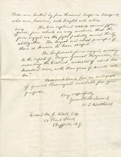 W. T. WALTHALL - AUTOGRAPH LETTER SIGNED 01/09/1880