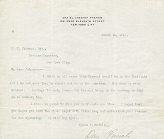 DANIEL CHESTER FRENCH - TYPED LETTER SIGNED 03/16/1911