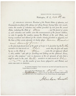 Autographs: PRESIDENT ABRAHAM LINCOLN - DOCUMENT SIGNED 09/05/1863