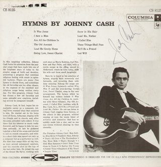 JOHNNY CASH - RECORD ALBUM COVER SIGNED  - HFSID 283825