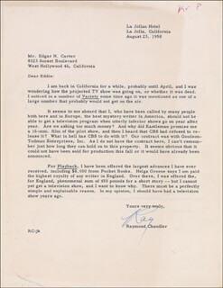 Autographs: RAYMOND CHANDLER - TYPED LETTER SIGNED 08/23/1958