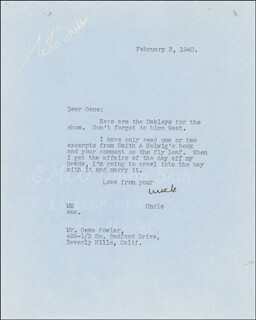 W. C. FIELDS - TYPED LETTER SIGNED 02/03/1940