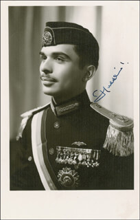 KING HUSSEIN (JORDAN) - PICTURE POST CARD SIGNED