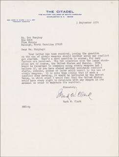 Autographs: GENERAL MARK W. CLARK - TYPED LETTER SIGNED 09/03/1976
