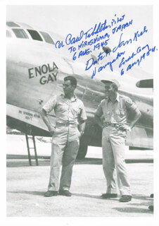 ENOLA GAY CREW - AUTOGRAPHED SIGNED PHOTOGRAPH CO-SIGNED BY: ENOLA GAY CREW (THEODORE VAN KIRK), ENOLA GAY CREW (PAUL W. TIBBETS)