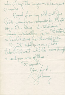 JOHNNY DOWNS - AUTOGRAPH LETTER SIGNED 11/14/1935