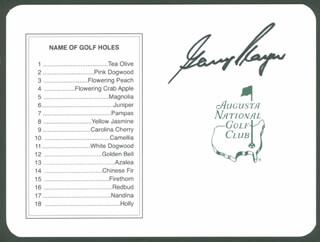 Autographs: GARY PLAYER - SCORECARD SIGNED