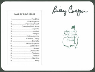 BILLY CASPER - SCORECARD SIGNED