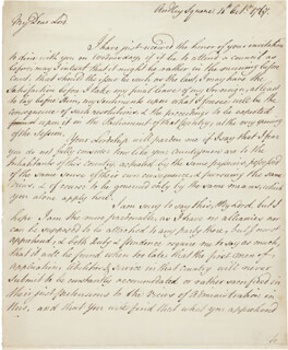 FIELD MARSHAL GEORGE TOWNSHEND - AUTOGRAPH LETTER SIGNED 10/04/1767