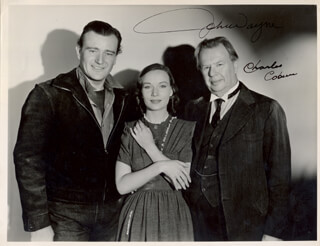 THREE FACES WEST MOVIE CAST (THE REFUGEE) - AUTOGRAPHED SIGNED PHOTOGRAPH CO-SIGNED BY: CHARLES D. COBURN, JOHN DUKE WAYNE