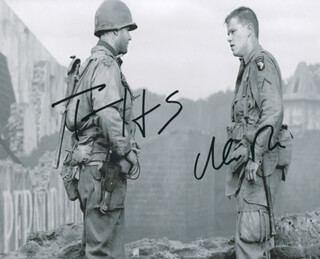 SAVING PRIVATE RYAN MOVIE CAST - AUTOGRAPHED SIGNED PHOTOGRAPH CO-SIGNED BY: TOM HANKS, MATT DAMON