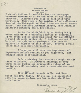 LAWRENCE TIBBETT - TYPED LETTER SIGNED 03/25/1924