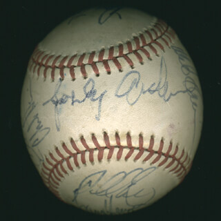THE DETROIT TIGERS - AUTOGRAPHED SIGNED BASEBALL CO-SIGNED BY: DOYLE ALEXANDER, MATT NOKES, CHILI DAVIS, RAY KNIGHT, CHET LEMON, GARY PETTIS, BOB BOONE, DARRELL EVANS, SPARKY ANDERSON, LUIS POLONIA, LARRY HERNDON