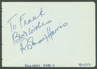 ROSEMARY HARRIS - AUTOGRAPH NOTE SIGNED CIRCA 1972
