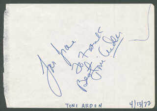 TONI ARDEN - AUTOGRAPH NOTE SIGNED CIRCA 1972
