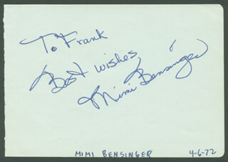 MIMI BENSINGER - AUTOGRAPH NOTE SIGNED CIRCA 1972