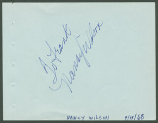 NANCY WILSON - INSCRIBED SIGNATURE CIRCA 1968