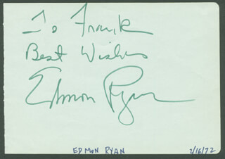EDMON RYAN - AUTOGRAPH NOTE SIGNED CIRCA 1972