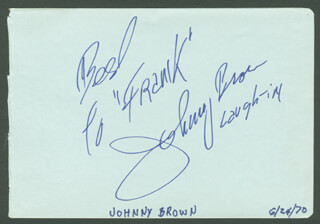 JOHNNY BROWN - AUTOGRAPH NOTE SIGNED CIRCA 1970