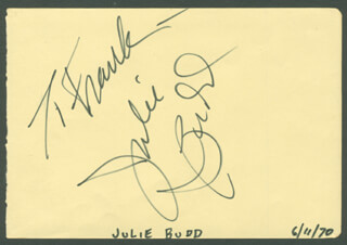 JULIE BUDD - INSCRIBED SIGNATURE CIRCA 1970