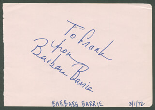 BARBARA BARRIE - AUTOGRAPH NOTE SIGNED CIRCA 1972