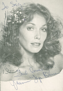JAIME LYN BAUER - AUTOGRAPH NOTE ON PICTURE POSTCARD SIGNED 1984