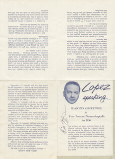 VINCENT LOPEZ - ARTICLE SIGNED CIRCA 1956