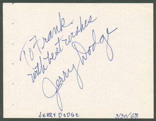 JERRY DODGE - AUTOGRAPH NOTE SIGNED CIRCA 1968
