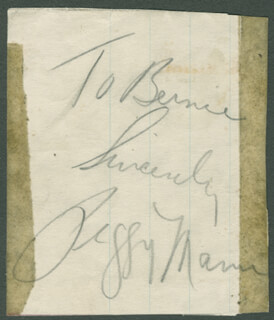 PEGGY MANN - AUTOGRAPH NOTE SIGNED