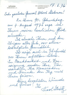 Autographs: GRAND ADMIRAL KARL DONITZ - AUTOGRAPH LETTER SIGNED 06/17/1976