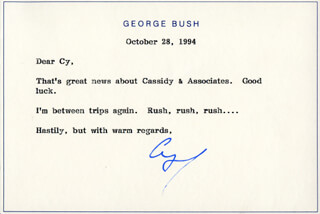 Autographs: PRESIDENT GEORGE H.W. BUSH - TYPED NOTE SIGNED 10/28/1994