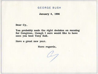 Autographs: PRESIDENT GEORGE H.W. BUSH - TYPED NOTE SIGNED 01/04/1996