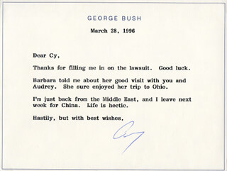 Autographs: PRESIDENT GEORGE H.W. BUSH - TYPED NOTE SIGNED 03/28/1996