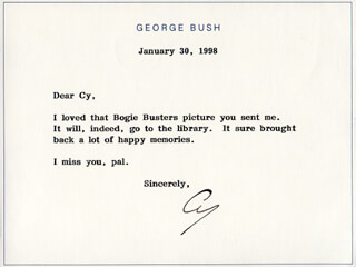 PRESIDENT GEORGE H.W. BUSH - TYPED NOTE SIGNED 01/30/1998