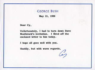 Autographs: PRESIDENT GEORGE H.W. BUSH - TYPED NOTE SIGNED 05/13/1998