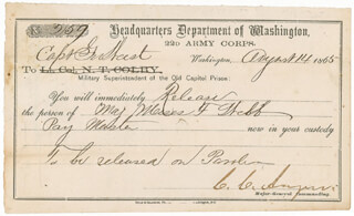 Autographs: MAJOR GENERAL CHRISTOPHER C. AUGUR - DOCUMENT SIGNED 08/14/1865
