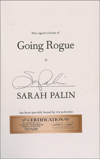 GOVERNOR SARAH PALIN - BOOK SIGNED