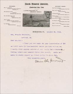 MAJOR GENERAL OLIVER O. HOWARD - TYPED LETTER SIGNED