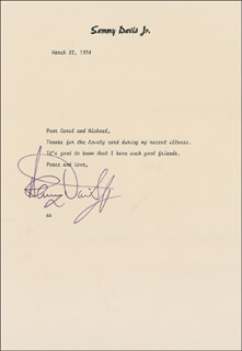 SAMMY DAVIS JR. - TYPED LETTER SIGNED 03/22/1974