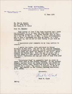 Autographs: GENERAL MARK W. CLARK - TYPED LETTER SIGNED 06/11/1976