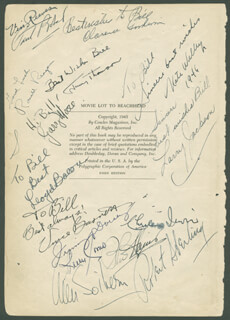 PRESIDENT RONALD REAGAN - BOOK PAGE SIGNED CIRCA 1945 CO-SIGNED BY: JOHN HAMILTON, PERRY COMO, DEAN MARTIN, ROBERT STERLING, FRANCIS OUIMET, CHARLES IRWIN, JIMMY DORSEY, LEO B. GORCEY, EDGAR BERGEN, BRUCE CABOT, HELMUT DANTINE, ANN SOTHERN, MARGUERITE CHAPMAN, ALAN HALE SR., JERRY LEWIS, GARRY MOORE, LLOYD BACON, DON BARCLAY, DON PRINDLE, HOWARD PARKER, WILLIAM BILL MARSHALL, LARRY JACKSON, VINCENT C. HICKSON
