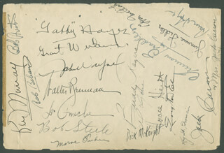 JOHN DUKE WAYNE - BOOK PAGE SIGNED CO-SIGNED BY: BOB STEELE, TRUMAN BRADLEY, GEORGE GABBY HAYES, JACK CARSON, CHARLES BUDDY ROGERS, DON AMECHE, HORACE HEIDT, WALTER BRENNAN, JAMES JIMMIE FIDLER, KEN MURRAY, ROBERT PRESTON, MARVIN MARVE FISHER, KAY ST. GERMAIN, DICK MCKNIGHT, GEORGE BOB BEBAN JR., AL LYONS, GRANT WITHERS