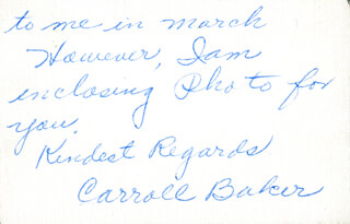 CARROLL BAKER - AUTOGRAPH LETTER SIGNED