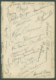 Autographs: ERROL FLYNN - BOOK PAGE SIGNED CO-SIGNED BY: DON RED BARRY, HOAGY CARMICHAEL, HENRY O'NEILL, LOU THE COSMIC PUNCH NOVA, CHARLES J. WINNINGER, HOWARD HILL, HARRY VON ZELL, JIMMY BABY FACE McLARNIN, HUNTLY GORDON, CHARLES COBURN, MONTY THE BEARD WOOLLEY, GENE AUTRY, LINDA DARNELL, CARY GRANT, ALEXIS SMITH, VICTOR McLEOD, ROBERT BARRAT, CHARLES KENYON, HELEN GERALD, GUINN BIG BOY WILLIAMS, RICHARD A. CARROLL, GORDON EDWARDS, CLYDE GERONIMI, EDDIE (EDWARD F. CLINES) CLINE, WILLIAM T. W. T. LACKEY