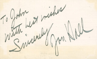 JON HALL - AUTOGRAPH NOTE SIGNED