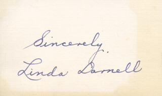 LINDA DARNELL - AUTOGRAPH SENTIMENT SIGNED